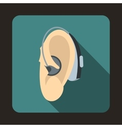 Hearing aid icon flat style vector