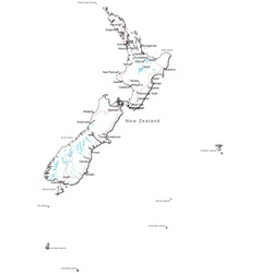 New Zealand Black and White Map vector image