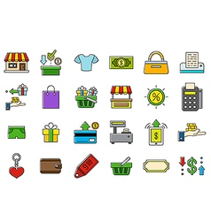 Colorful store icons set vector image
