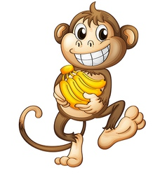 A happy monkey with bananas vector image vector image