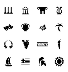 black greece icon set vector image