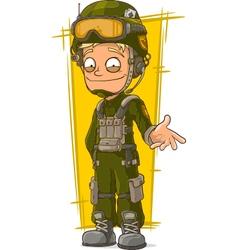 Cartoon blond soldier in green vector image vector image