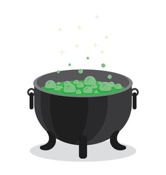 cauldron of boiling green liquid vector image