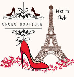 Cute shoes boutique red shoe hang on a banner vector