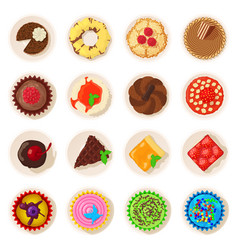 dessert top view detailed icons set cartoon style vector image