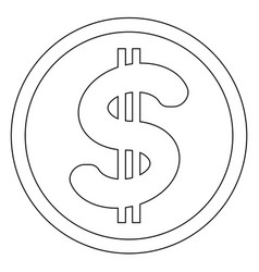 Dollar in the circle the black color icon vector