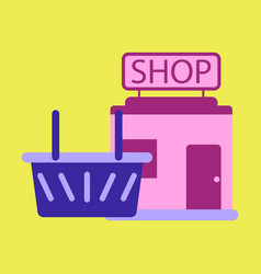 Flat icon shop basket vector