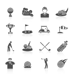 Golf icons set black vector image vector image