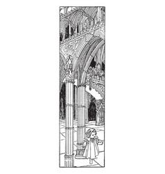Gothic church interior is found in novelist vector