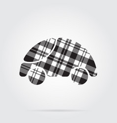 Grayscale tartan isolated icon - cute rounded car vector