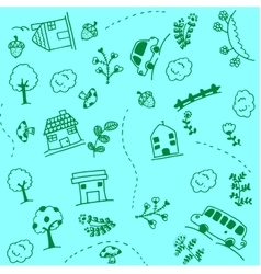 Green home and car doodle art vector