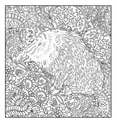 Hand drawn pig against floral pattern vector