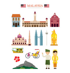 Malaysia landmarks architecture building object vector
