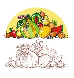 Multicoloured fresh fruit vector