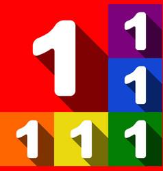 Number 1 sign design template element set vector