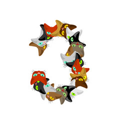 number 3 cat font cats number three pet alphabet vector image vector image