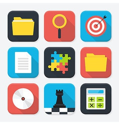 Office themed squared app icon set vector