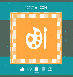 palette for paints with paint brush icon vector image