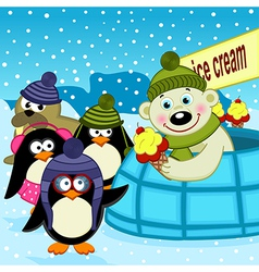 Polar bear ice cream seller vector
