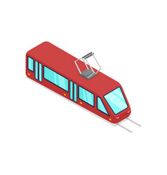 Red streetcar isolated isometric 3d icon vector