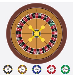 Roulette with chips vector image