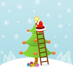 Santa Decorating Christmas Tree vector image vector image