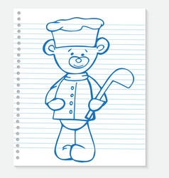 Sketch bear cook on a notebook vector image