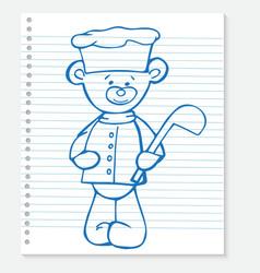 Sketch bear cook on a notebook vector