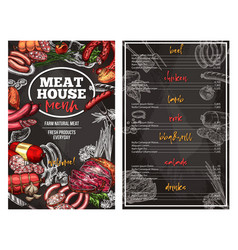 Sketch menu for meat house delicatessen vector