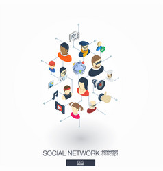 society integrated 3d web icons digital network vector image