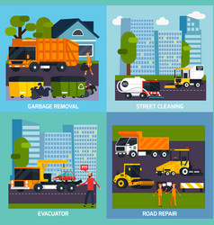 Special transport 2x2 flat design concept vector