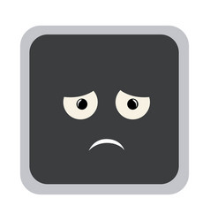 Square colorful shape emoticon dissapointed vector