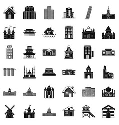 Town building icons set simple style vector