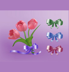 Tulips and ribbon vector