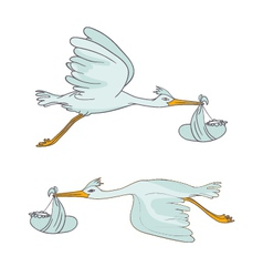 Two stork flying with children vector