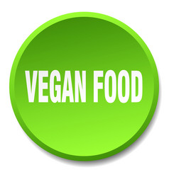 Vegan food green round flat isolated push button vector