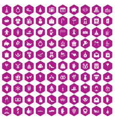 100 gift icons hexagon violet vector