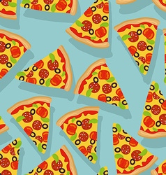 Pizza seamless pattern delicious slice of pizza vector