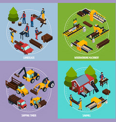 sawmill 2x2 isometric design concept vector image