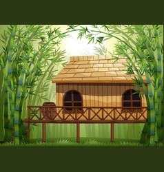 Wooden cabin in bamboo forest vector