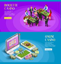 Casino isometric banners set vector