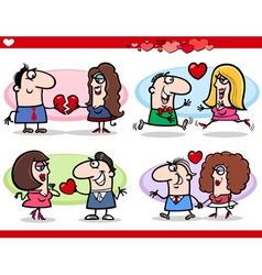 valentine couples in love cartoon set vector image