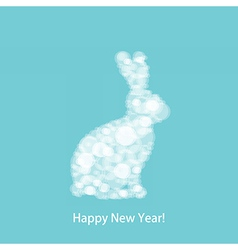 Christmas white rabbit vector