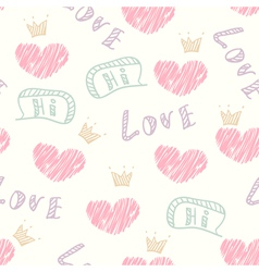 Doodle love seamless pattern vector