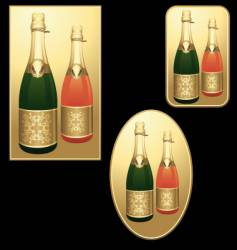 Champagne bottles badges vector