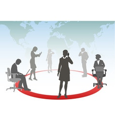 Business people connect smart phone touch computer vector