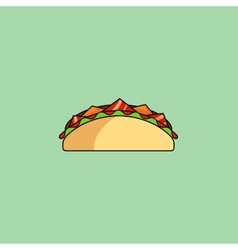 Tacos and burrito shaurma line icon vector