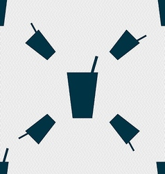 Cocktail icon sign seamless pattern with geometric vector