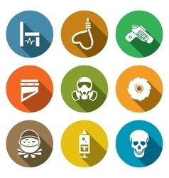 Execution icons set vector