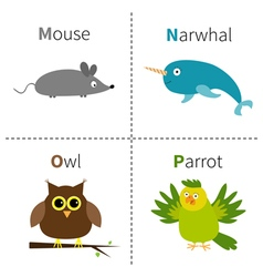 Letter m n o p mouse narwhal owl parrot zoo vector
